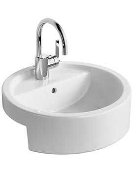 Ideal Standard White Round 45cm Semi-Countertop One Tap Hole Basin