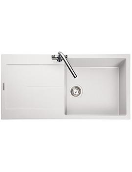 Rangemaster Scoria 1000 x 500mm Igneous Granite White 1.0B Inset Sink