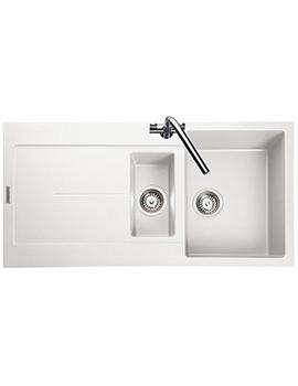 Rangemaster Scoria 1000 x 500mm Igneous Granite White 1.5B Inset Sink