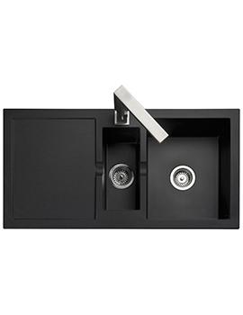 Rangemaster Cubix 985 x 508mm Neo-Rock Granite Black 1.5B Inset Sink