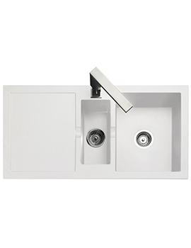 Rangemaster Cubix 985 x 508mm Neo-Rock Granite White 1.5B Inset Sink