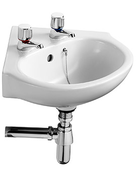 Ideal Standard Studio 45cm Corner Basin With 2 Tap Holes