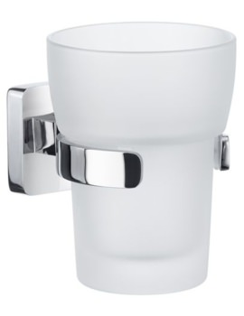 Smedbo Ice Polished Chrome Holder With Frosted Glass Tumbler