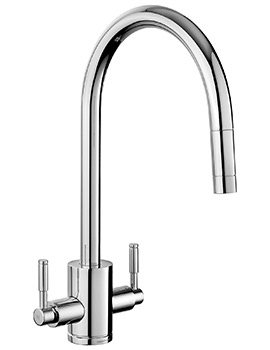 Rangemaster Aquatrend Dual Lever Pull Out Kitchen Sink Mixer Tap