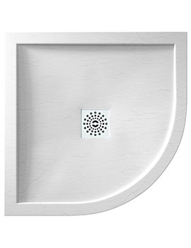 April Waifer 800 x 800mm Quadrant Slate Effect White Shower Tray