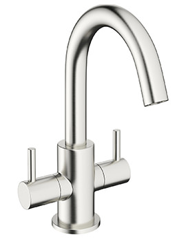 Crosswater Mike Pro Brushed Stainless Steel Twin Lever Basin Mixer Tap