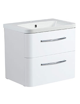 Roper Rhodes System 600mm Gloss White 2 Drawer Vanity Unit