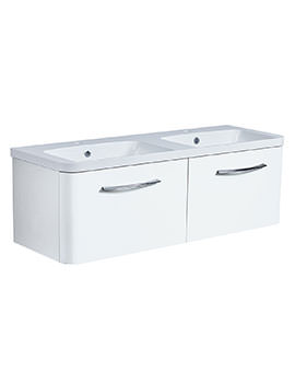 Roper Rhodes System 1200mm Gloss White 2 Drawer Unit With Double Basin
