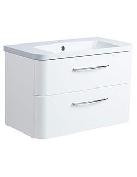 Roper Rhodes System 800mm Gloss White 2 Drawer Vanity Unit