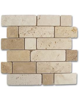 Dune Emphasis Mosaico Travertino Brick 30.5 x 30.5cm  Mosaic Tiles