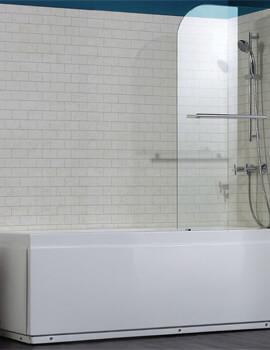 Saneux Agua Maison Radius Shaped Bath Screen With Towel Rail - 800 x 1400mm