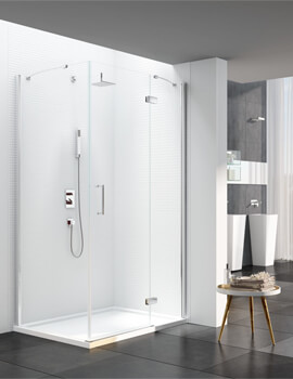 Merlyn 6 Series 800mm Plus Wide Frameless Hinge Door And Inline Panel For Use With Side Panel