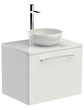 Saneux Austen 600mm Gloss White Drawer Unit With Worktop And Basin