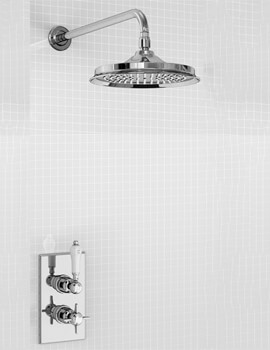 Burlington Arcade Trent Concealed Thermostatic Shower Valve With Rail 9 Inch Shower Rose
