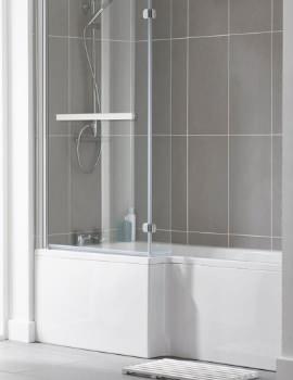 Essential Kensington 1800 x 850mm L-Shape Bath With Shower Screen