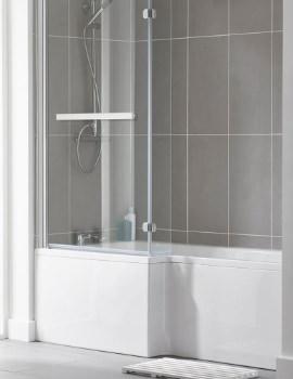 Essential Kensington 1500 x 850mm L-Shape Bath With Shower Screen