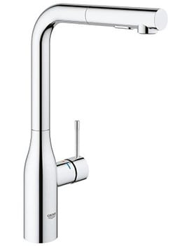 Grohe Essence L-Spout Kitchen Sink Mixer Tap With Pull Out Spray
