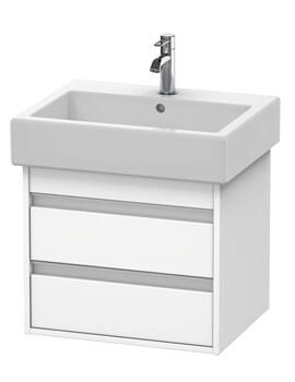 Duravit Ketho White Matt 550mm Double Drawer Vanity Unit With 600mm Basin
