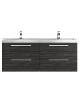 Hudson Reed Quartet 1440mm Hacienda Black Wall Mounted Cabinet And Basin