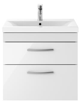 Nuie Premier Athena 600mm 2 Drawer Wall Hung Cabinet With Basin 1