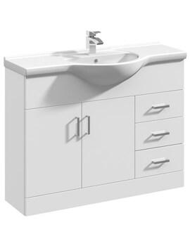 Premier Mayford 1050mm Floor Standing 2 Door And 3 Drawer Cabinet With Basin