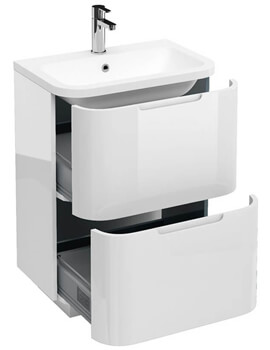 Britton Compact 2 Drawer 600mm Vanity Unit With Quattrocast Basin