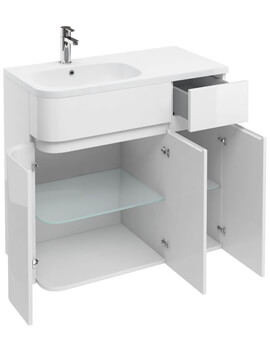 Britton D45 Arc 900mm Left Hand Cabinet With Quattrocast Basin