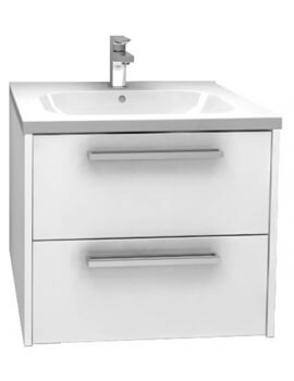 Pura Arco Wall Mounted 600mm Double Drawer Storage Cabinet With Basin