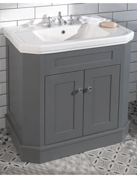 Silverdale Empire 920mm Grey Cabinet And 3 Taphole White Basin