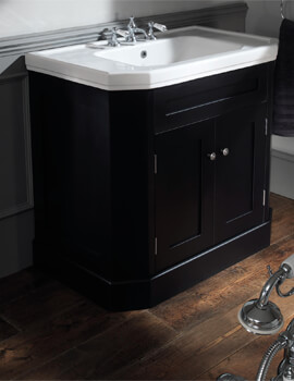 Silverdale Empire 920mm Black Cabinet And 3 Taphole White Basin