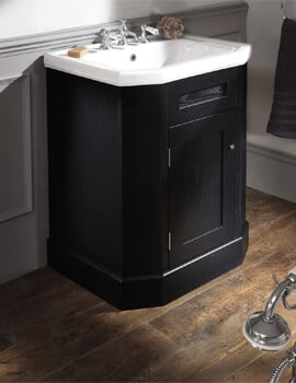 Silverdale Empire 700mm Black Cabinet And 3 Taphole White Inset Basin