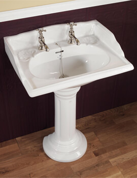 Silverdale Victorian 635 x 485mm White Basin - 2 Tapholes