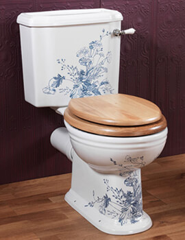 Silverdale Victorian Blue Pattern 430 x 740mm White Close Coupled Toilet