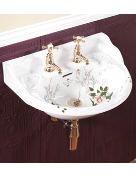 Silverdale Victorian Garden 530 x 385mm White 2 Tap Hole Cloakroom Basin