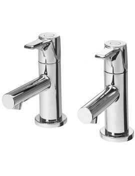 Triton Dene Pair Of Basin Taps With Slotted Click Clack Waste