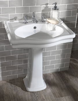 Silverdale Loxley 650 x 560mm White 3 Tap Hole Basin
