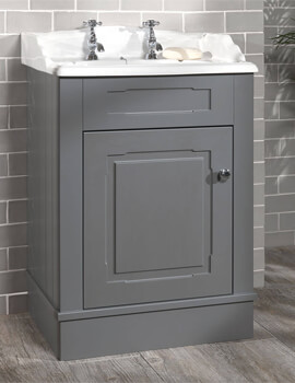 Silverdale Victorian 635mm Grey Painted Cabinet And 2 Taphole Basin