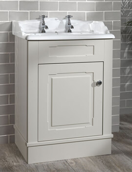 Silverdale Victorian 635mm Stone Painted Cabinet And 2 Taphole Basin