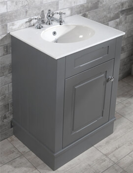Silverdale Victorian 635mm Painted Grey Cabinet And 3TH Undermount Basin