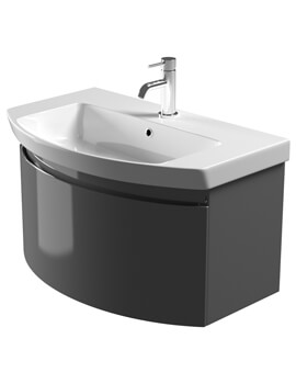 Saneux Poppy 800mm Gloss Grey Soft Close Drawer Unit With Washbasin