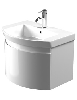 Saneux Poppy 650mm Gloss White Soft Close Drawer Unit With Washbasin