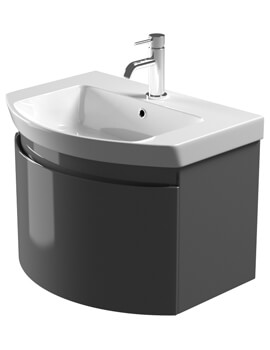 Saneux Poppy 650mm Gloss Grey Soft Close Drawer Unit With Washbasin