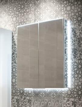 HIB Ether 60 LED-Illuminated Aluminium Mirrored Cabinet 2-Door - W 600 x H 700mm