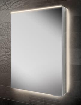 HIB Ether 50 Single Door 500 x 700mm Illuminated Mirrored Cabinet