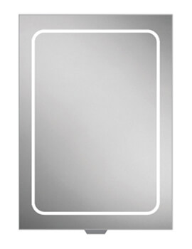 HIB Vapor Single Door LED Illuminated 500 x 700mm Aluminium Mirror Cabinet