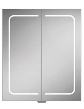 HIB Vapor 600 x 700mm Double Door LED Illuminated Aluminium Mirror Cabinet