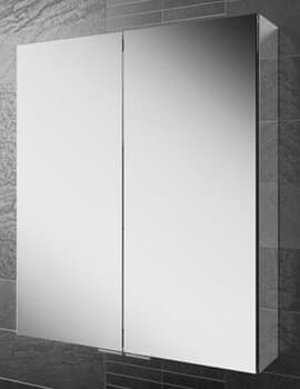 HIB Eris 60 Double Door 600 x 700mm Aluminium Mirrored Cabinet
