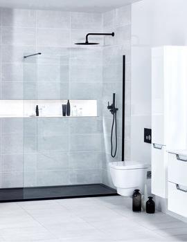 Frontline Aquaglass+ Black Walk-In Front Panel 1950mm Height