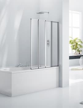 Frontline Aquaglass+ 3mm 4 Fold Bath Screen 850mm
