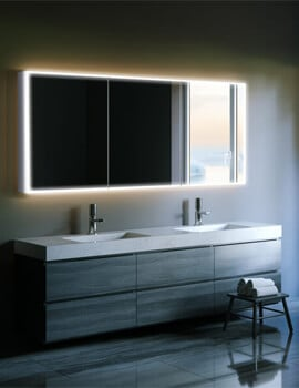 HIB Qubic 120 Triple Door LED Illuminated Aluminium Mirror Cabinet 1200 x 700mm